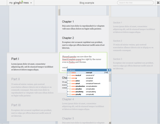 PhraseExpander with Gingko in Firefox